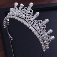 Hair Clips & Barrettes Luxury Pearl Princess Pageant Tiaras And Crowns Engagement Wedding Accessories For Bridal Jewelry Shine Crystal Crown
