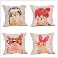 Fashion Animal Print Almohadilla Funda de almohada Dibujos animados Cat Coby Cover Sofá creativo y Cojín de cintura CUBIERTA 4 ESTILO 45 * 45CM T500977