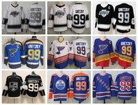 La Los Angeles Kings CCM خمر 99 Wayne Gretzky جيرسي رجل هوكي الجليد الفانيلة York Rangers St. Louis Blues Edmonton Oilers Blue أسود أبيض
