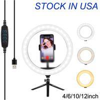 """4 """"ضوء حلقة Selfie مع حامل ترايبود - Dimmtop Desktop Ringlight منافذ USB، دائرة أضواء LED إضاءة الكاميرا LED Stream"""