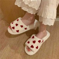 Fuzzy House Slippers For Women Girls Fur Slides Winter Warm Women's Indoor Slippers Cute Heart Print Soft Bedroom Home Shoes 210408
