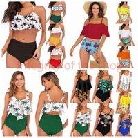 23styles Women Waist Polka Dot Bikini Sexy Print Swimwear Summer Beachwear Lotus Leaf Floral Bra Set Swimsuit Bathing Suit 2sets LJJA2277