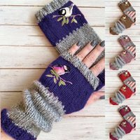 Monochrome autumn and winter European and American new fashion warmth stitching embroidered women's gloves
