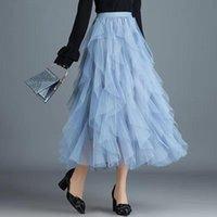 Skirts 2021 Spring Women Fluffy Maxi Long Skirt Ladies Korean Ruffles High Waist Jurken Ball Gown Goth Lolita Skater Tutu Party
