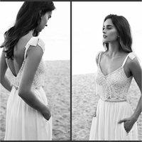 2 Piece Lace Boho Wedding Dress 2021 Spaghetti Neck Beads Backless Bride Gowns Sweep Train Beach Chiffon Wedding Dress