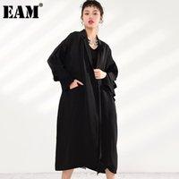 Women's Trench Coats [EAM] Women Pocket Black Long Big Size Lapel Sleeve Loose Fit Windbreaker Fashion Spring Autumn 2021 U3700