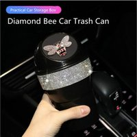 Creative Diamond Bee Multifunctional Storage Box Water Cup Car Trash Can Bucket Other Interior Accessories