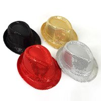 Sequin Street Dance Korean Version Jazz Hat Solid Color Fashion Classic Hats Kids Boys Girls Simple Performance Prop Caps