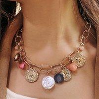 Boho Declaración de oro Color de oro Cadenas grandes de las perlas barrocas Retrato Colgante colgante collar para mujeres Chicas Playa Collares Chokers