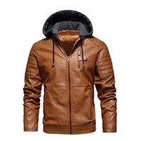 Mens PU Leather Outdoor Jackets Fashion Trend Long Sleeve Zipper Hooded Coats Designer Male Winter Fleece Casual Skinny PU Outerwears