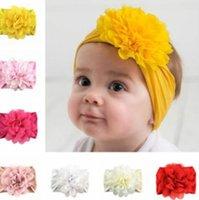 Tiktok Kids Neuf -born Gilrs Soft Nylon Bandeau Bandeau de Cheveux avec Big Fleur Cheveux Floraux Bébé Floral Wrand Bandes de cheveux Designers Discuteurs Princesse Style Ly6802