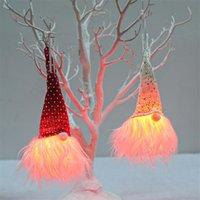 Christmas Decorations Santa Rudolph Doll Cloth Birthday Present For Home Ornaments Luminous Pendant