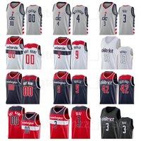 Ekran Baskılı Basketbol Russell Westbrook Jersey 4 Bradley Beal 3 Thomas Bryant 13 Raul Neto 19 Davis Bertans 42 Kırmızı Donanma Mavi Beyaz