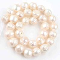 """Perles de perles blanches naturelles de 12-13mm rondes perles d'espacement en vrac pour bijoux Faire bricolage femme bracelet accessoires 15 """"pouces"""