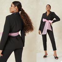 Black Women Pants Suits wiht Belt Celebrity Red Carpet Blazer Suit Ladies Prom Party Wedding Wear(Jacket+Pants)