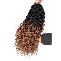 합성 여신 locs 크로 셰 뜨개질 머리 확장 18 인치 긴 소프트 깊은 곱슬 가짜 가짜 locs 크로 셰 뜨개질 머리 24roots