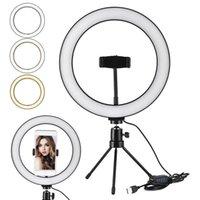 Selfie Ring LED Light Stand 26 Cm 10 Inch Dimmable Mini Tripod For For Smartphone Youtube Tiktok Makeup Video Studio Tripod Ring Light