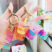 Creativity lovely into oil pearl milk tea cup key chain girl heart pendant personality bag