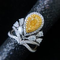 JoiasHome Luxury S925 Ring For Women Silver Fine Jewelry Crown Design Water Drop Shaped Asche Yellow Gemstone Wedding Engagement