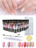 Nail Gel 2 Models Poly Extension Set Builder Enhancement Kit With Building Glue Pen Tips Clip