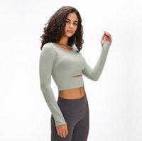 Luyogasports Outfit Sports Femmes Gym Gym T-shirt à manches longues T-shirt à manches longues rembourrées Demi longueur Lu Bra exécutant Slim Athletic Yoga Top