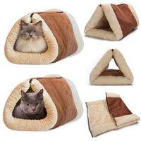 Cat Beds & Furniture Winter Warm Two-In-One Cave Pet Bed Mat With Self-Heating Thermal Core No Electric Blanket Products Waterproof Washable