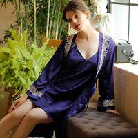 Women's Sleepwear Two Piece Robe Sets Women Satin Silk Kimono Bathrobe Gown Sexy Lace Nightwear Casual Intimate Lingerie Home Clothes