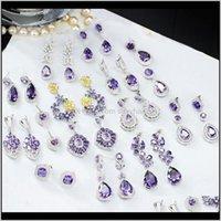 Consegna dei monili della lampadario 2021 Pera Arrival Cubic Zircon Crystal Round Long Big Dangle Dangle Drop Drop Flower foglia cuore cuore Purple Orecchini Weddin