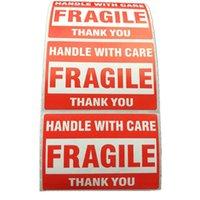 500PCS Emballage AVERTISSEMENT STIKCER Poignée fragile Poignée de soins avec étiquette de remerciement 1 rouleau 2x3 pouces (51 x 76mm) SRAF
