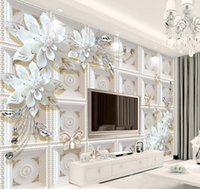 Custom Any Size 3D Mural Wallpaper European Style Crystal Flower Photo Wall Painting Living Room Theme Hotel Luxury Decor Wall
