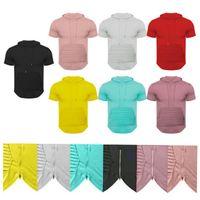 Men's T-Shirts Hip Hop Long Line Mens Pullover Summer Tees Hoodie Short Sleeve Pocket Hoody Plus Size M-3XL new