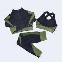 Gestaltung von Leggings Fitnessanzug Yoga Frauen Outfits 3 stücke Sets Langarmhemd + Sport BH + Nahtlose Workout Laufende Kleidung Fitnessstudio Tragen, LF051 04
