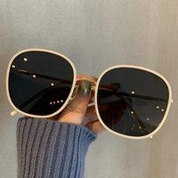 النظارات الشمسية 561 النسخة الكورية 2021 الإناث الشارع الأزياء جولة إطار نظارات وجه كبير uv حماية سهل