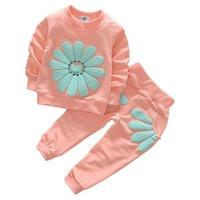 Neonati Neonati Abbigliamento Set Flower Manica lunga Top + Pantaloni 2 PZ Abiti per bambini Abbigliamento per bambini Abiti per bambini 50 Z2