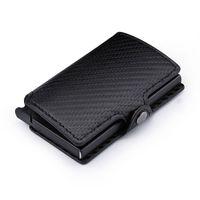 Card Holders RFID 2021 Fashion Men's Carbon Fiber Leather Holder Automatic Aluminum Metal Cardholder Male Wallet Slim Case Purse