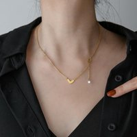 Pendant Necklaces FANYANG Simple Tassel Love Heart Necklace For Women Gold Stainless Steel With Zircon Neck Jewelry Gift
