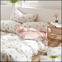Sets Supplies Textiles Home & Gardendenim Sheet Quilt Er College Students Dormitory Beddings Three-Piece Set Cotton Girl Heart Single Bed Be