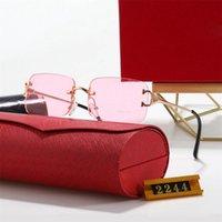 2021 최신 프레임 디자인 편광 된 럭셔리 선글라스 브랜드 남성 파일럿 태양 UV400 안경 안경 금속 프레임 2244 폴라로이드 렌즈 상자