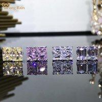 Wong Yağmur 100% 925 Ayar Gümüş Radyant Kesim Oluşturulan Moissanit Taş Nişan Moda Kulak Çiviler Küpe Güzel Takı Saplama