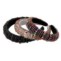 Lindo Barroco Sparkly acolchoado Rhinestone para Mulheres Full Crystal Headbands Wide Headband Headwear Acessórios de Cabelo