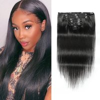 Clip In Hair Extensions Silky Straight Brazilian Virgin Human Hairs 8-24inch Peruvian Malaysian Indian Natural Color