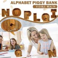Lettera Piggy Bank Salvadanaio per adulti Personalizzato Banca di moneta di vetro organico per il bambino Montessori Toy Toy Bambini Unico Baby Regalo Regalo Tip Jar
