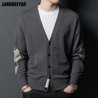 Men's Sweaters Top Grade Autum Designer Fashion Knit V Neck Cardigan Trendy Striped Sweater Mens Casual Coats Jacket Men Clothing