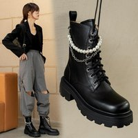 Boots QZYERAI Ankle Platform Women Cow Leather Round Toe Lace-Up Closure Ladies Thick Sole Shoes Handmade Motorcycle