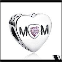 Sier rosa cubico zircone openwork mom perline fit Pandora charm braccialetto di fascino gioielli moda accessorio all'ingrosso xmoro ch4qr