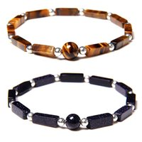 Cuentas, hebras Moda Cuadrado Cuboide Natural Stone Brazalete Tiger Ojo Lapis Lazuli Color Silver Ball Spacer Beads Pulseras para mujeres hombres judío