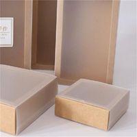 9 sizes Kraft black white gift packaging box with window kraft carton paper gift paper box with lid carton cardboard 622 R2