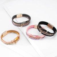 Moflo boêmia étnica retro colorido envoltório trançando pedras preciosas charme pulseira de pulseiras de couro multicamadas