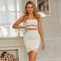 Elbise Swtao Yaz Seksi Straplez Açık Beyaz 2021 kadın Moda Sıkı Kulüp Akşam Değiştirme Odası IGLR