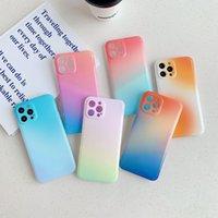 Gradiente Rainbow Color de caramelo brillante Color suave TPU Cajas de teléfono Protección de la cámara para iPhone 13 12 11 Pro Max XR XS X 8 7 Plus SE2 Estilo de ciencia ficción Funda